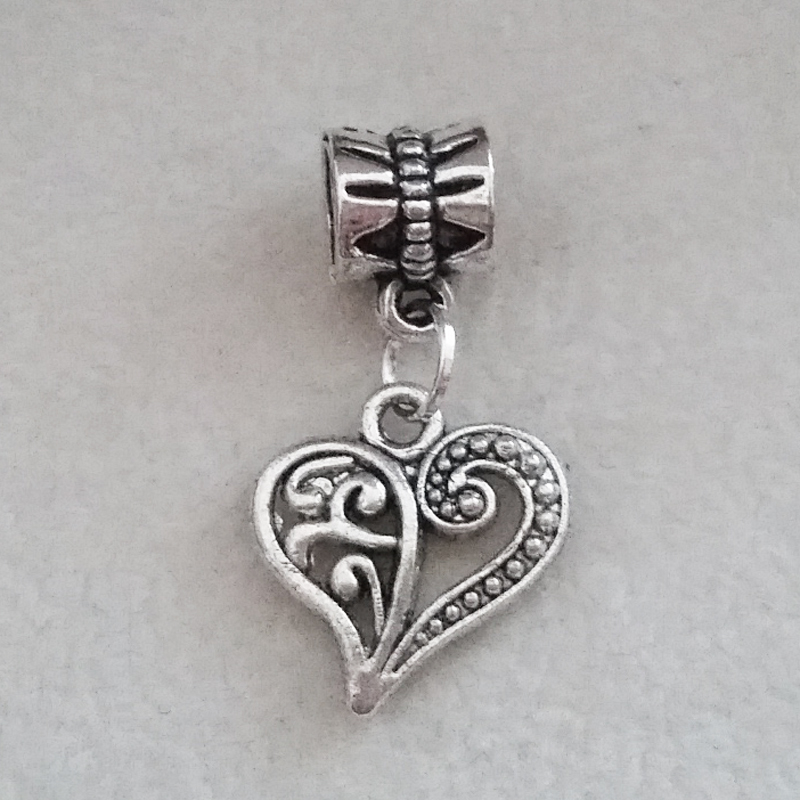 1PC vintage heart Pendant Charms Silver Dangle Bead For European Pandora Charm DIY Pulseras Womens bracelets