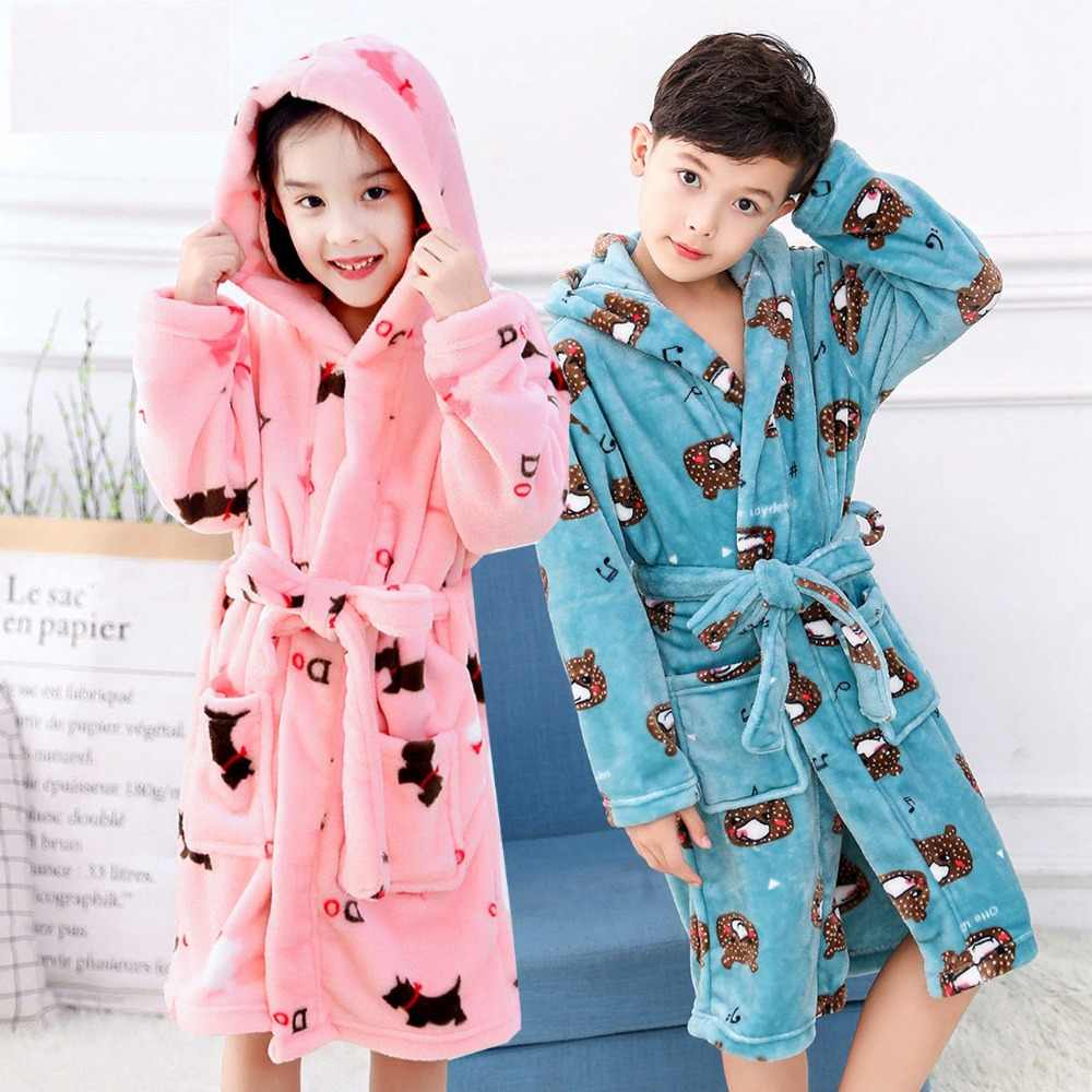 High Quality Flannel Bath Robe for Children Kids Hooded Bathrobes Soft  Cotton Dressing Gowns for Girls 7842cc9ef