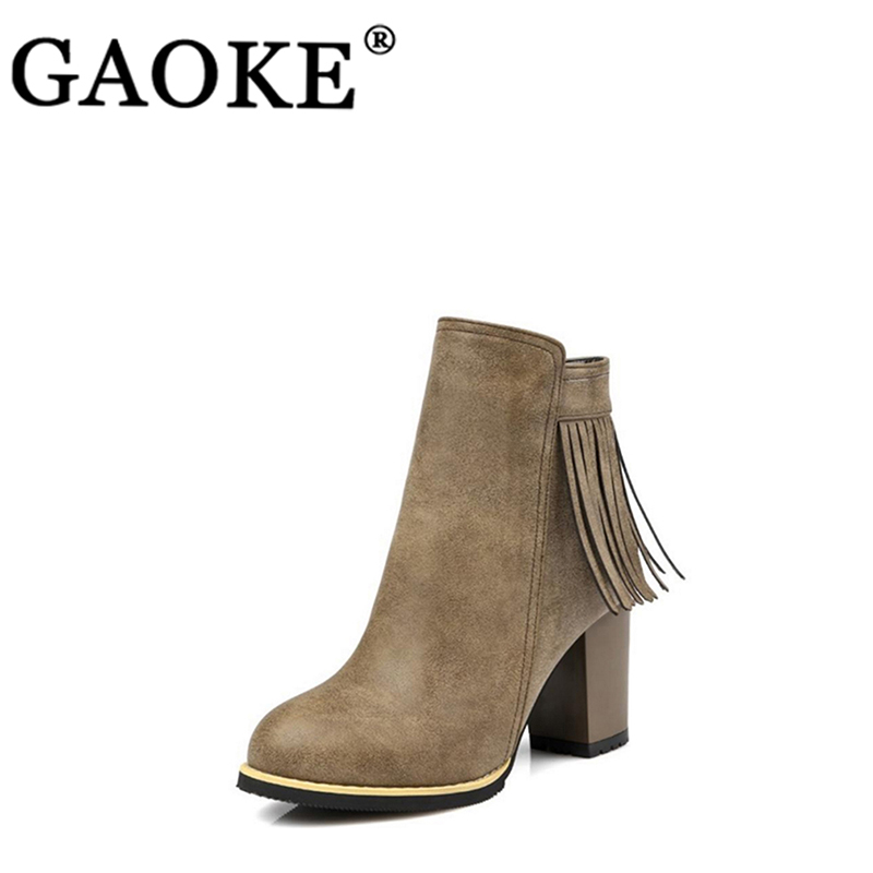 De Ankle Boots Picture Primavera Otoño Calzado Plataforma Lady Gray Goma Botas 2018 Zapatos Mujer as Redonda Punta Borla khaki SFHwRq