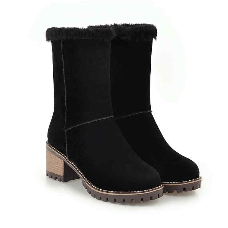 MEMUNIA 2019 yeni varış yarım çizmeler kadın sıcak tutmak kış kar botları yuvarlak ayak üzerinde kayma akın yüksek topuklu platform ayakkabılar kadın