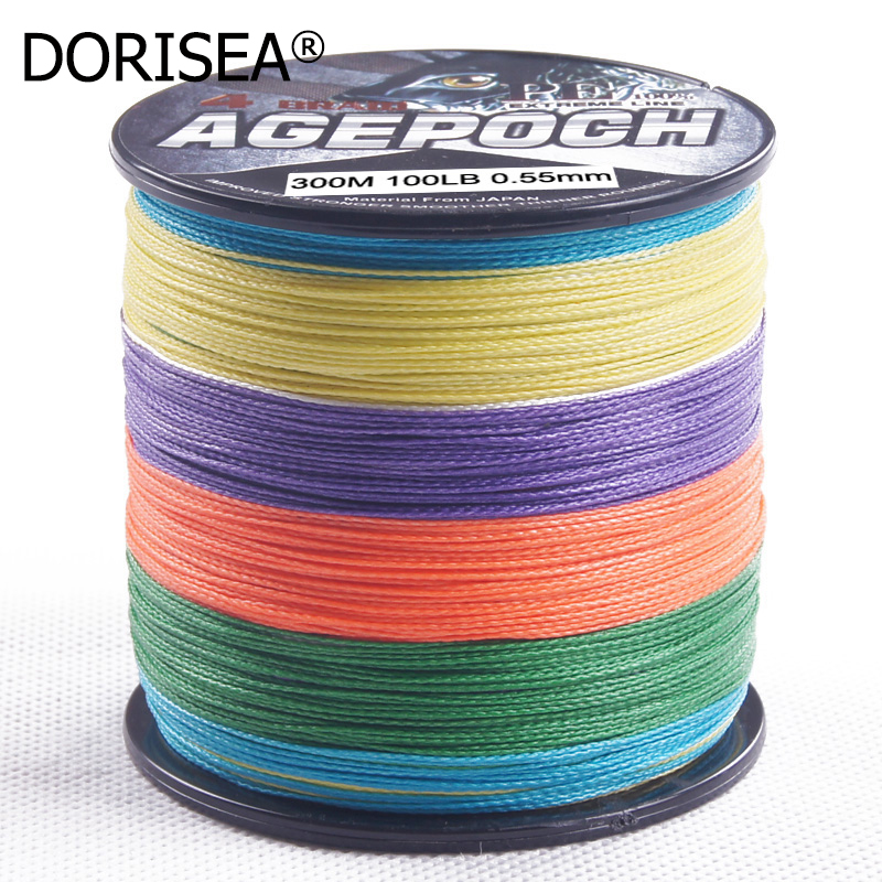 DORISEA Agepoch 4 Strands 300M Super Strong Braided Fishing Line Multifilament PE Fishing Wire Braided Fishing Line 6-100LB
