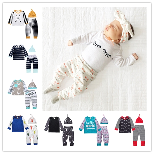 Hot sale 2018 new ins boys and girls newborn clothing set striped animal printing T shirt