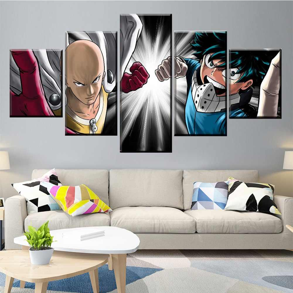 Quadros em tela decoração da casa arte da parede um conjunto 5 painel boku nenhum herói academia izuku midoriya e um soco-homem saitama cartaz