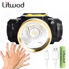 Litwod z2090 10 Вт светодиодный налобный фонарь с датчиком движения, мини-налобный фонарь, перезаряжаемый уличный фонарь для кемпинга, Головной фонарь с USB