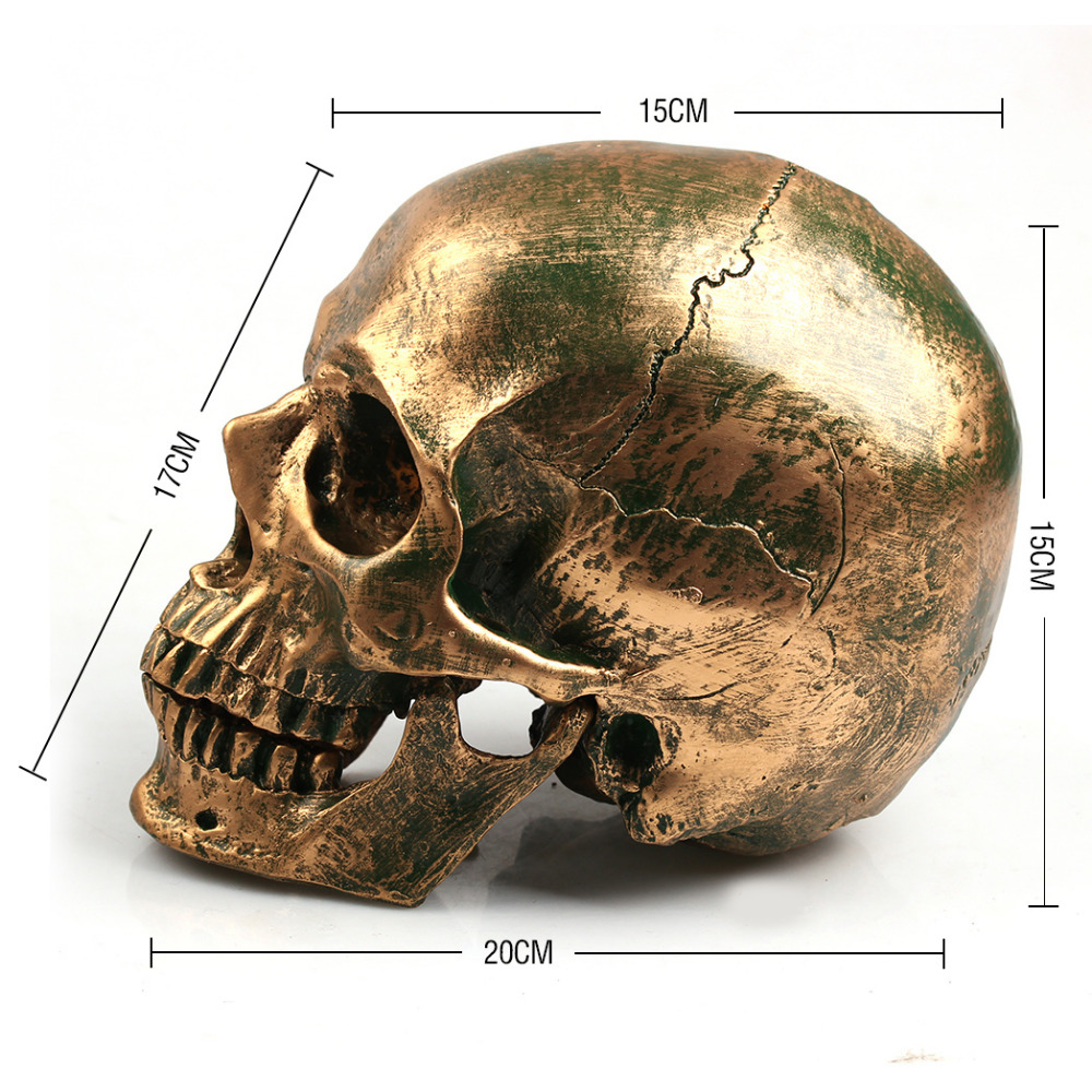 P-Flame Bronce Cráneo Humano Resina Artesanía Tamaño de Vida 1: 1 Modelo Moderno Decoración Del Hogar Imitación Metal Calavera Decorativa