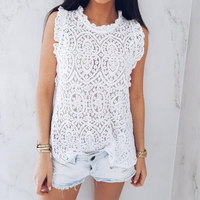 Vintage Lace Crochet Solid O Neck Sleeveless Ruffles 2018 Summer Fashion Party Tank Tops Women Casual Loose Vest Shirt Blouse