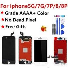 AAAA איכות LCD מסך עבור iphone 7 תצוגת עצרת החלפה עם מקורי Digitizer חלקי טלפון עבור iphone 8 8 p 7plus5 lcd