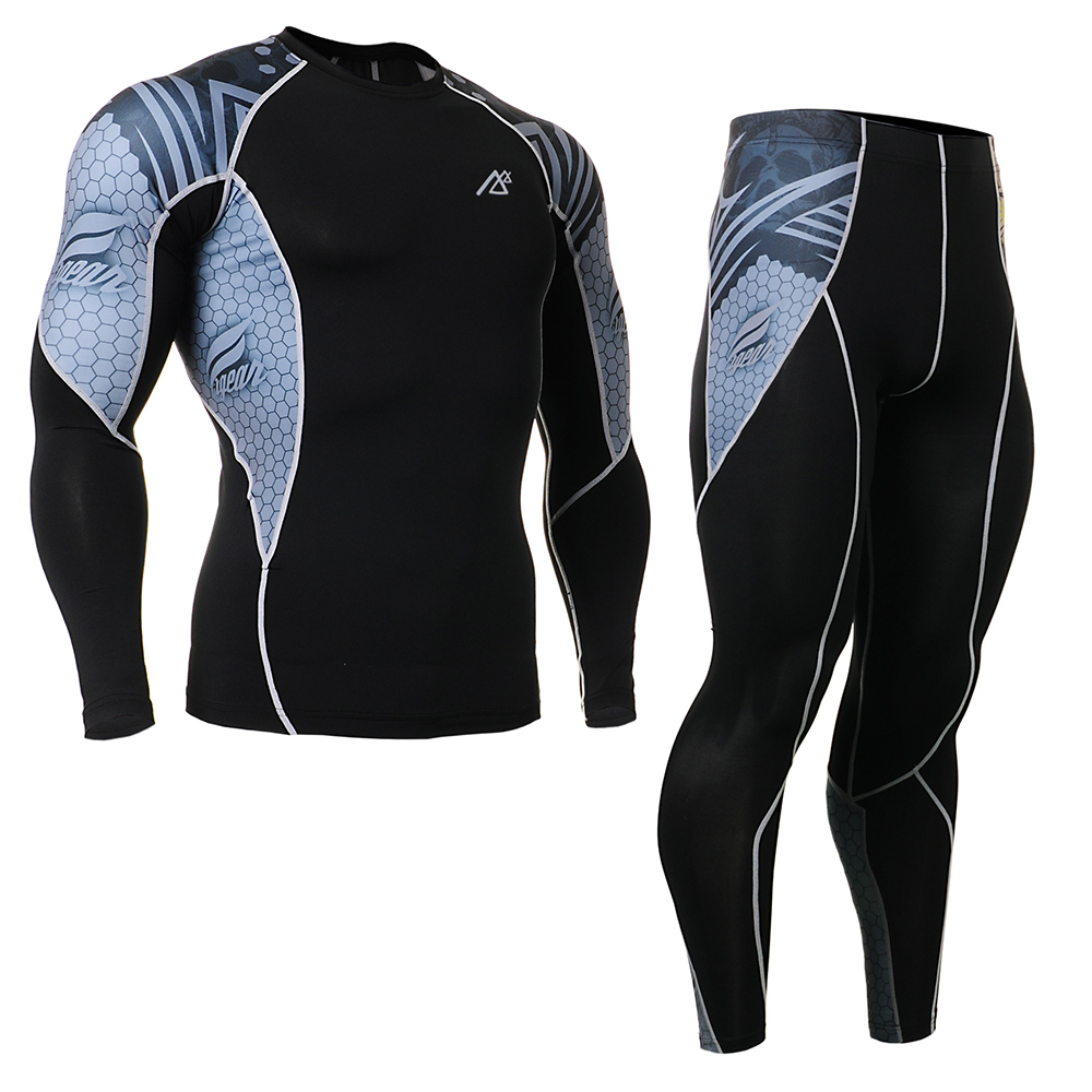 Men's Tracksuits Sportswear-Compression Set Skin-Tight Gym Training MMA Workout Fitness Yoga Clothing Set Sport Suit C2L/P2L-B41 fitness padded gravity boots safety locking mechanism ankle hooks abdominal workout training hang up ab gym equipment