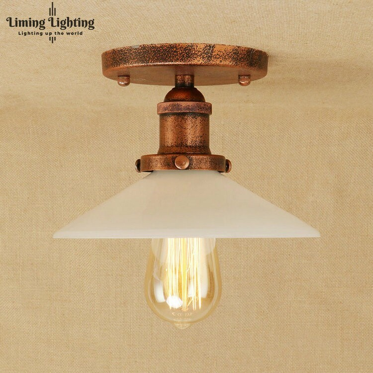 Loft Style Edison Industrial Ceiling Lamp Antique Iron Glass Vintage LED Ceiling Light Fixtures Home Lighting Lamparas retro loft style mirror glass iron vintage ceiling light fixtures edison industrial ceiling lamp antique lights home lighting