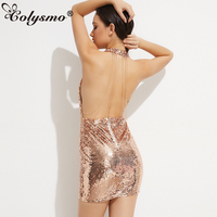 Smoves Sexy Halter Deep V Neck Open Back Chain Sequin Dress Party Dresses New Xmas Wear