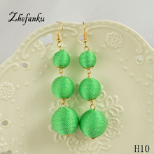 10 Color !Hot Sale  Bohemian Fluorescence Line Earrings For Women Fashion Pompom  Jewelry