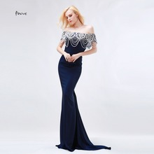 Finove Navy Blue Mermaid Evening Dresses 2017 New Arrival Beading Boat Neck Tassel Formal Occasion Dresses robe de soiree