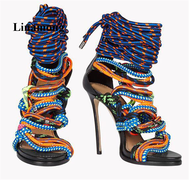2018 Summer Sandals Lace-Up Thin High Heel Cover Heel Colorful Tape Fashion Women Sandals Cross-tied Rear Zipper Summer Sandals цена