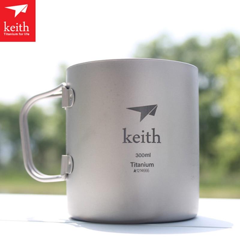 Keith New Titanium Double-wall Mug 300ml Thermo Cup Copos Mug With Lid Health Non-toxic Cookware Camping Drinkware Ti3352 стоимость