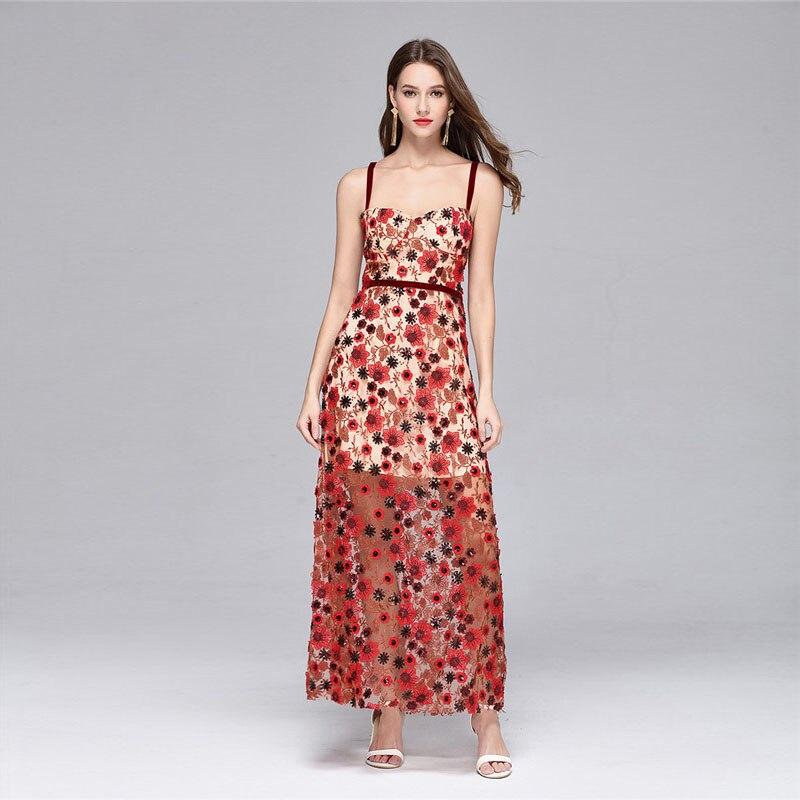 Luxe Brodé Gaine 2018 Haute Robes Fleur Club Designer Piste Party Femmes Qualité Robe Courroie Paillettes Sexy Red Maxi De YO78qH