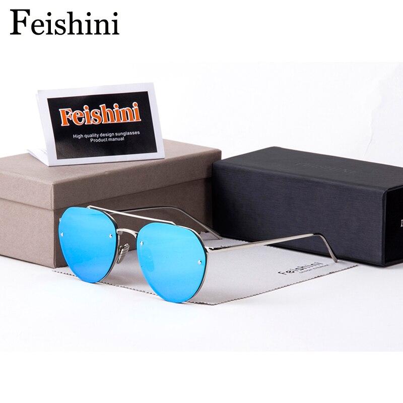 FEISHINI Moda Unique Style Tendência Das Mulheres Óculos De Sol UV400 óculos de Metal de Alta Qualidade Colorido Transparente Dos Homens da cor Do Oceano De Plástico Oval