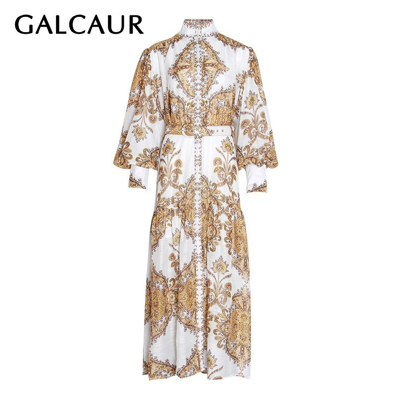 GALCAUR Elegant Print Dress For Women Stand Collar Lantern Sleeve High Waist With Sashes Midi Dresses