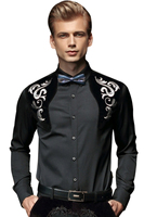 FanZhuan Free Shipping New Fashion Casual Male Men S Spring Baroque Embroidery Mens Long Sleeve Blue