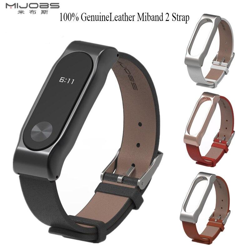 Mijobs miband mi bande 2 sangle confortable miband2 100% Véritable bracelet en cuir bracelet En Métal Cadre Bracelet sangle De Remplacement