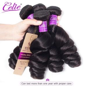 Image 4 - Celie Brazil Tóc Weave Gói Với Ren Đóng Cửa Remy Tóc Con Người 3 Bó Giao Dịch 4 cái/lốc Bó Sóng Lỏng Lẻo Với đóng cửa