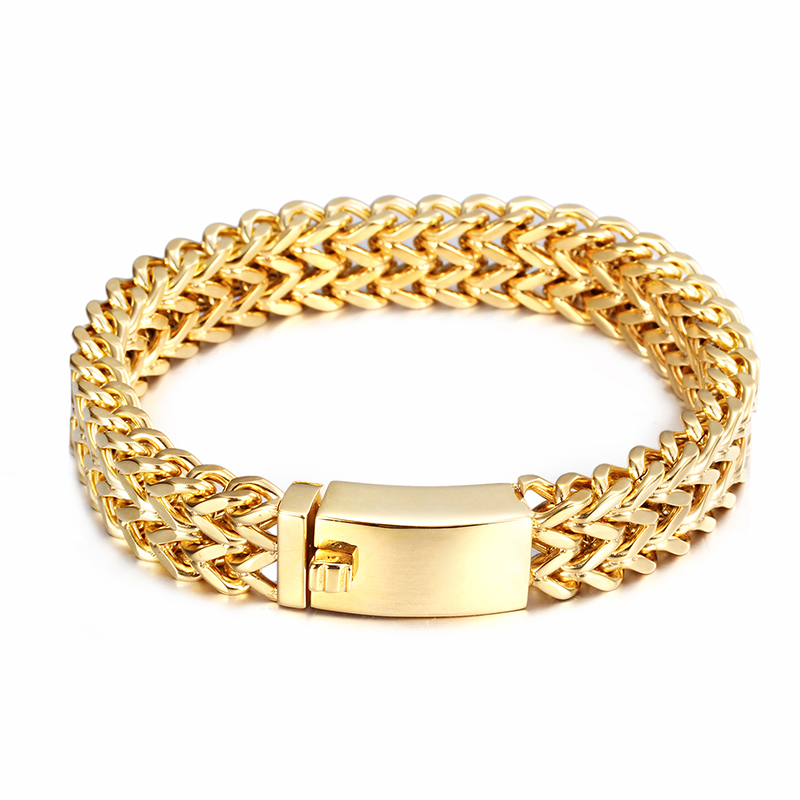 Cool Fashion Top Quality 18mm wide Gold Stainless Steel Trilaminar ...