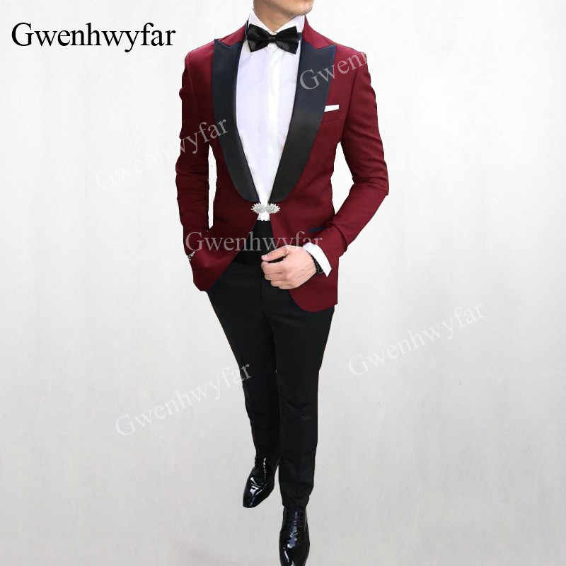 G-V More Than 10 Colors Men Wedding Suits Red 2019 Slim Fit Groom Tuxedos Groomsman Blazer Suits For Men 2 Pieces (Jacket+Pants)