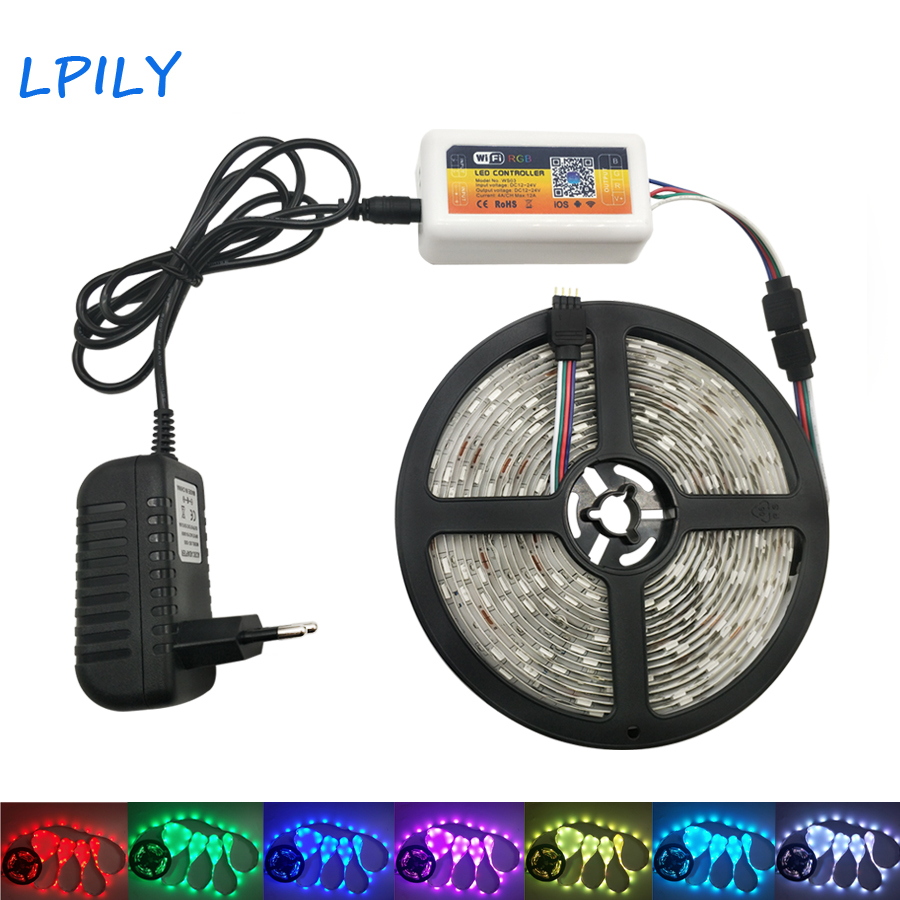 5050 RGB LED Strip Waterproof Diode Tape WIFI LED Strip Light Music RF Remote Controller 5M 10M 15M 20M LED Ribbon led light rgb 5050 led strip ip20 non waterproof flexible diode tape 2 4g rf remote rgb controller power adapter 20m 15m 10m 5m