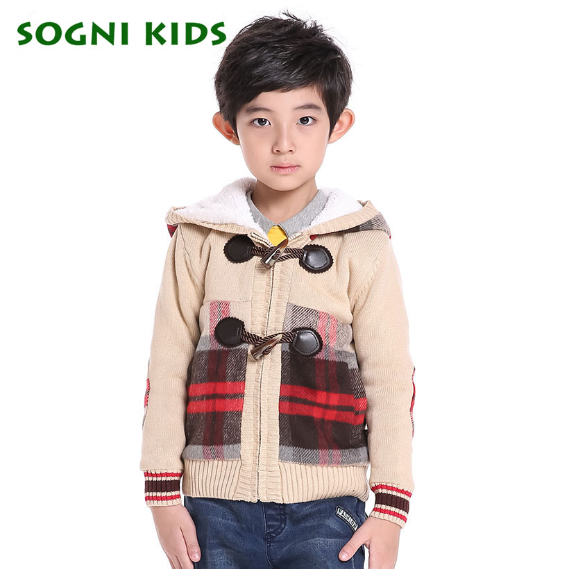 SOGNI KIDS Hooded Coat Toddler Boy Sweater 2016 Christmas Baby Boys Sweater Knitting Pattern Decoration Multi Colored Coats