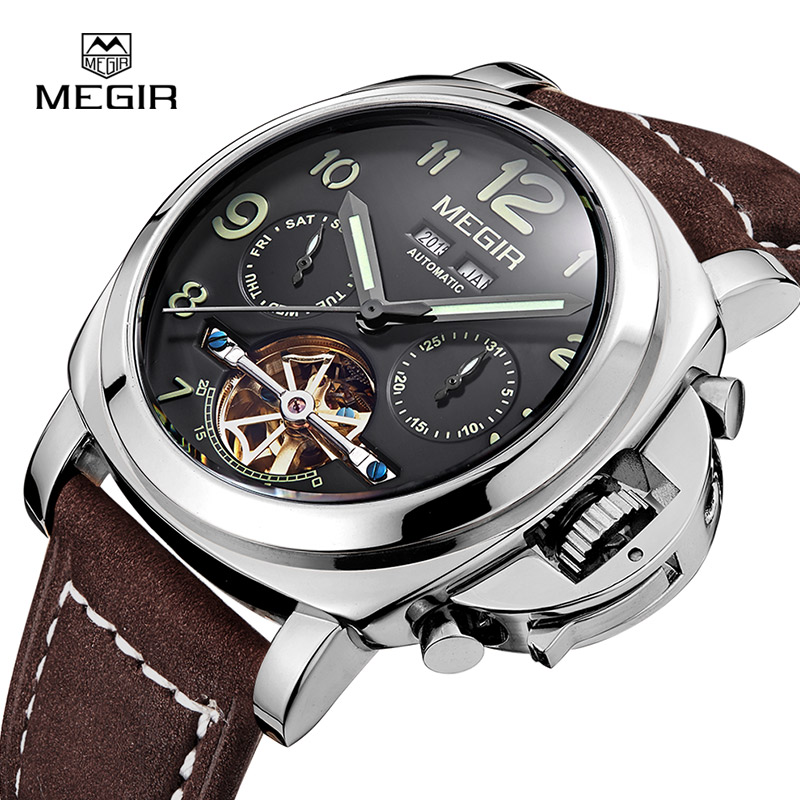 Megir luxury men's army brand mechanical watches fashion relogio masculino leather wristwatch man skeleton hour for male 3206AG