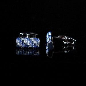 Image 3 - KFLK biżuteria koszula spinka do mankietu dla mężczyzn marka niebieski i biały kryształ spinki do mankietów luksusowy guzik ślubny wysokiej jakości goście