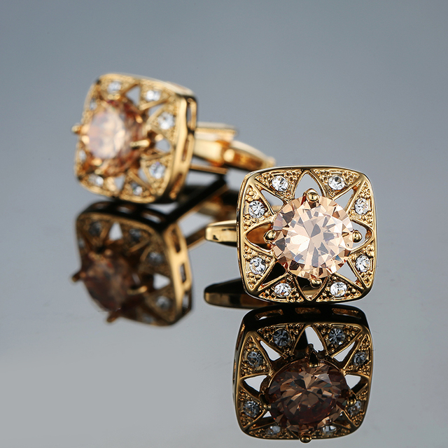 Novelty Luxury Blue white Cufflinks for Mens  Brand High Quality crown Crystal gold silver Cufflinks Shirt Cuff Links 4