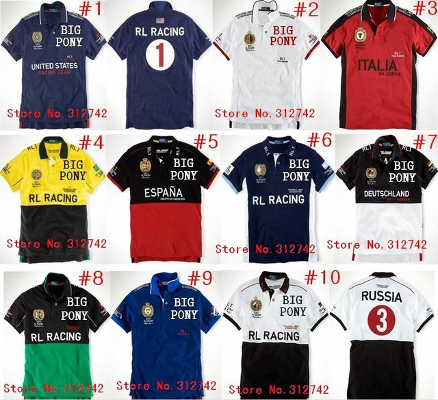 free shipping 10pcs Men t shirt short sleeve RL Racing polo FRANCE SPAIN  RUSSIA USA ITALIA 735314a02