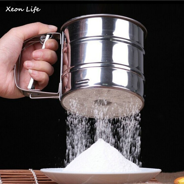 2019 New Stainless Steel Sieve Cup Powder Flour Sieve Mesh Knife Baking Tools Pastry Tools Cup Flour Stainless Steel Mesh Sieve