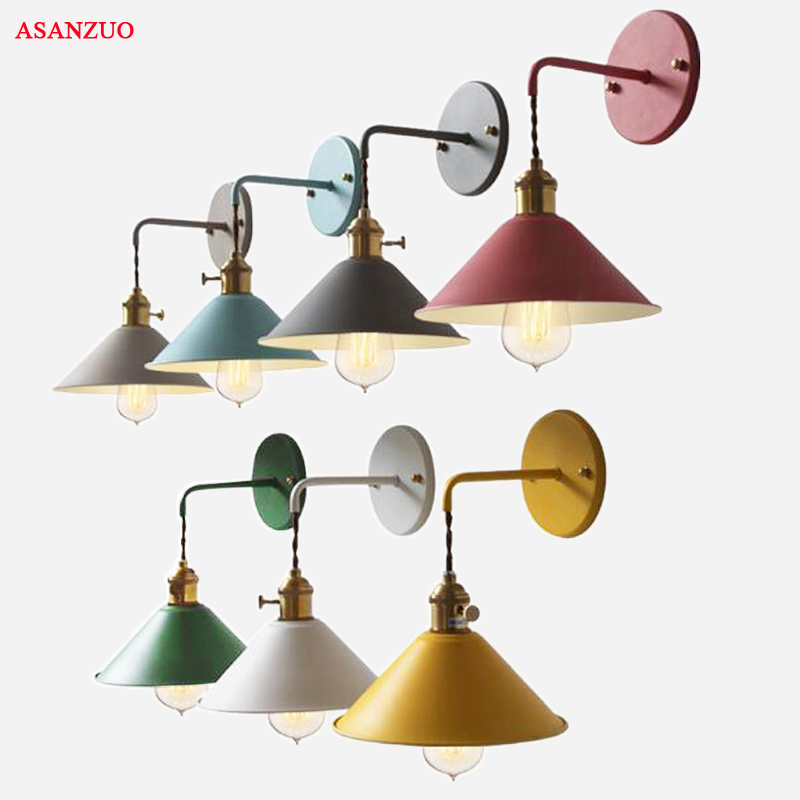 Fashion Colorful Modern Bedside wall lamp edison aisle sconce bedroom Read wall light E27 Living room hallway light fixtures
