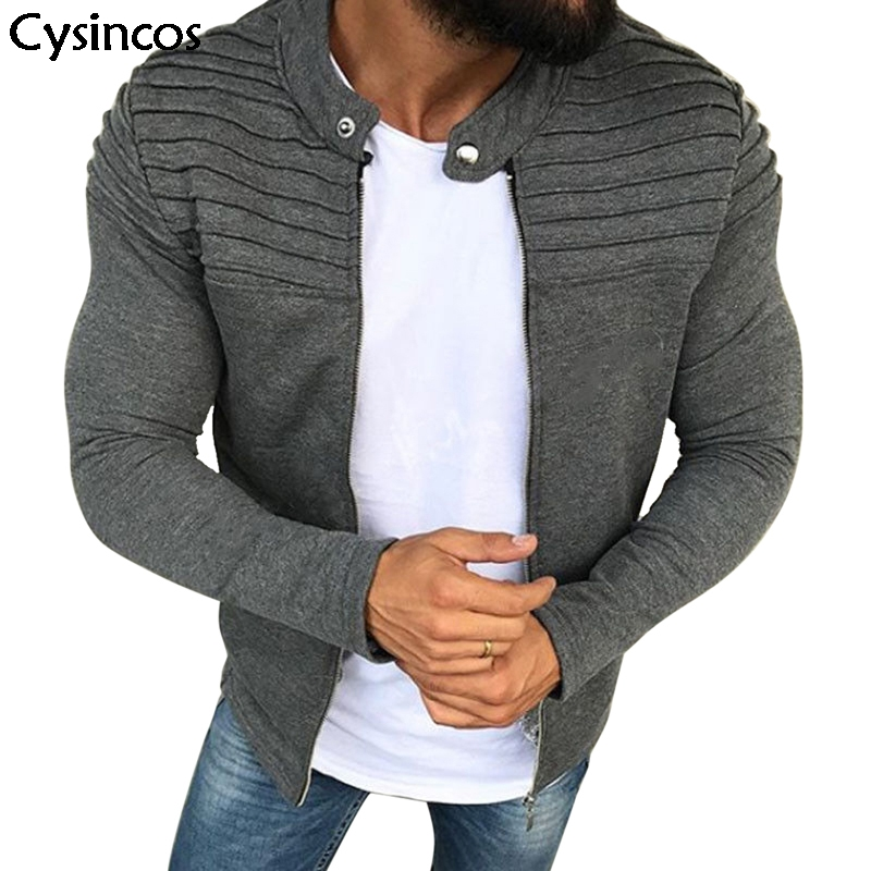 Cysincos Men's Casual Jacket Zipper Pleat Long Sleeve Streetwear Slim Cotton Covercoat Male Fashion Autumn Spring Tops Plus Size