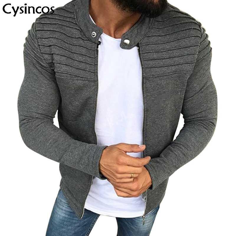 Cysincos мужская повседневная куртка на молнии со складками с длинным рукавом Уличная тонкая хлопковая куртка мужская мода осень весна топы размера плюс