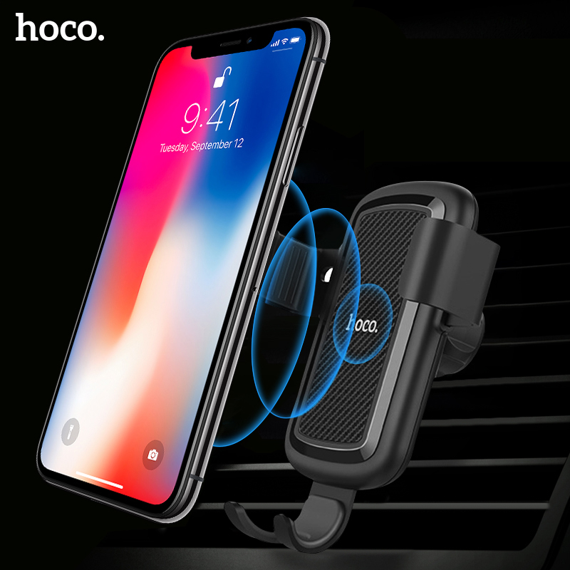 Image 1 - HOCO Car Qi Wireless Charger for iPhone Xs Max XR X 8 Plus Quick Charge Fast Wireless Car Mount Holder For Samsung S9 S8 2018-in Mobile Phone Chargers from Cellphones & Telecommunications