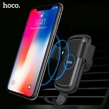 HOCO cargador inalámbrico Qi para coche, soporte de montaje rápido para coche inalámbrico, para iPhone Xs Max XR X 8 Plus, Samsung S9 S8 2018