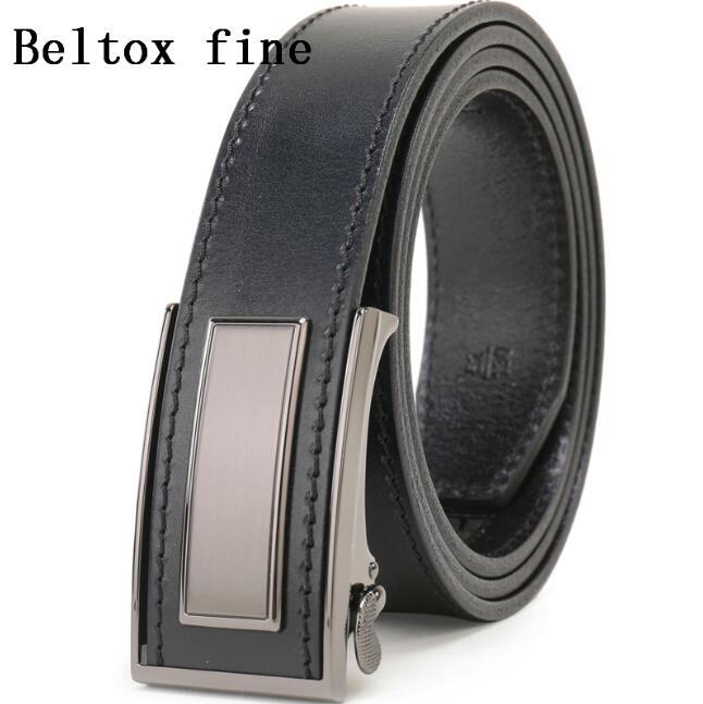 Men Genuine Leather Belt Ratchet Dress Belt with Automatic Buckle Fashion Business black6, waist40-42