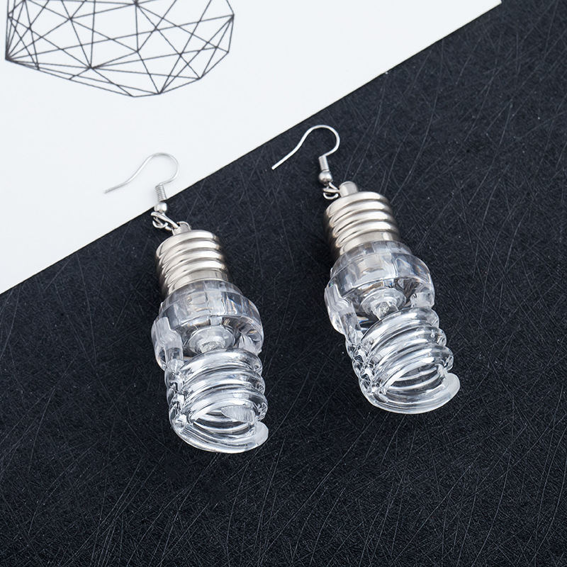 New Style Hot Fashion Design Transparent Bulbs Tubes Drop Earrings Personalized Cololul Lighting Earrings for Women Punk Brincos 3