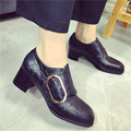 Western Netural Punk Medium Heeled Pumps Leather Vintage Buckle Women Stiletto Slip-on Square Toe Loafers Casual Ladies Shoes