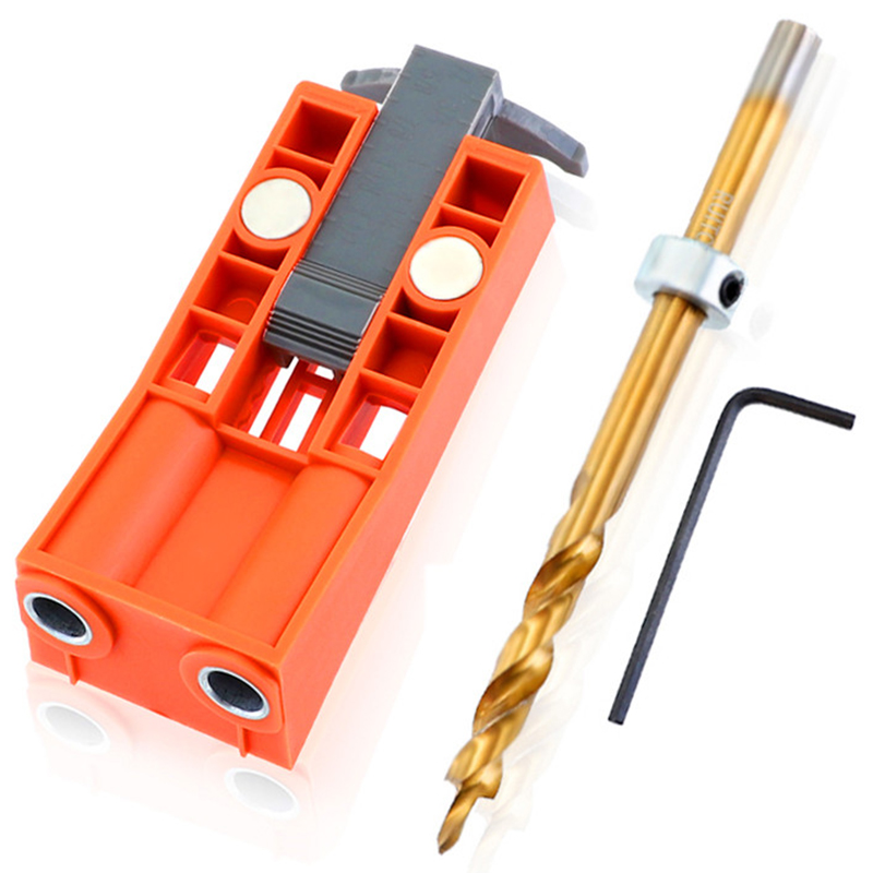 Pocket Hole Jig System With Magnet 9.5Mm Step Drill Wood Drill Positioning Slider Plastic Dowel Jig Tool For Carpentry
