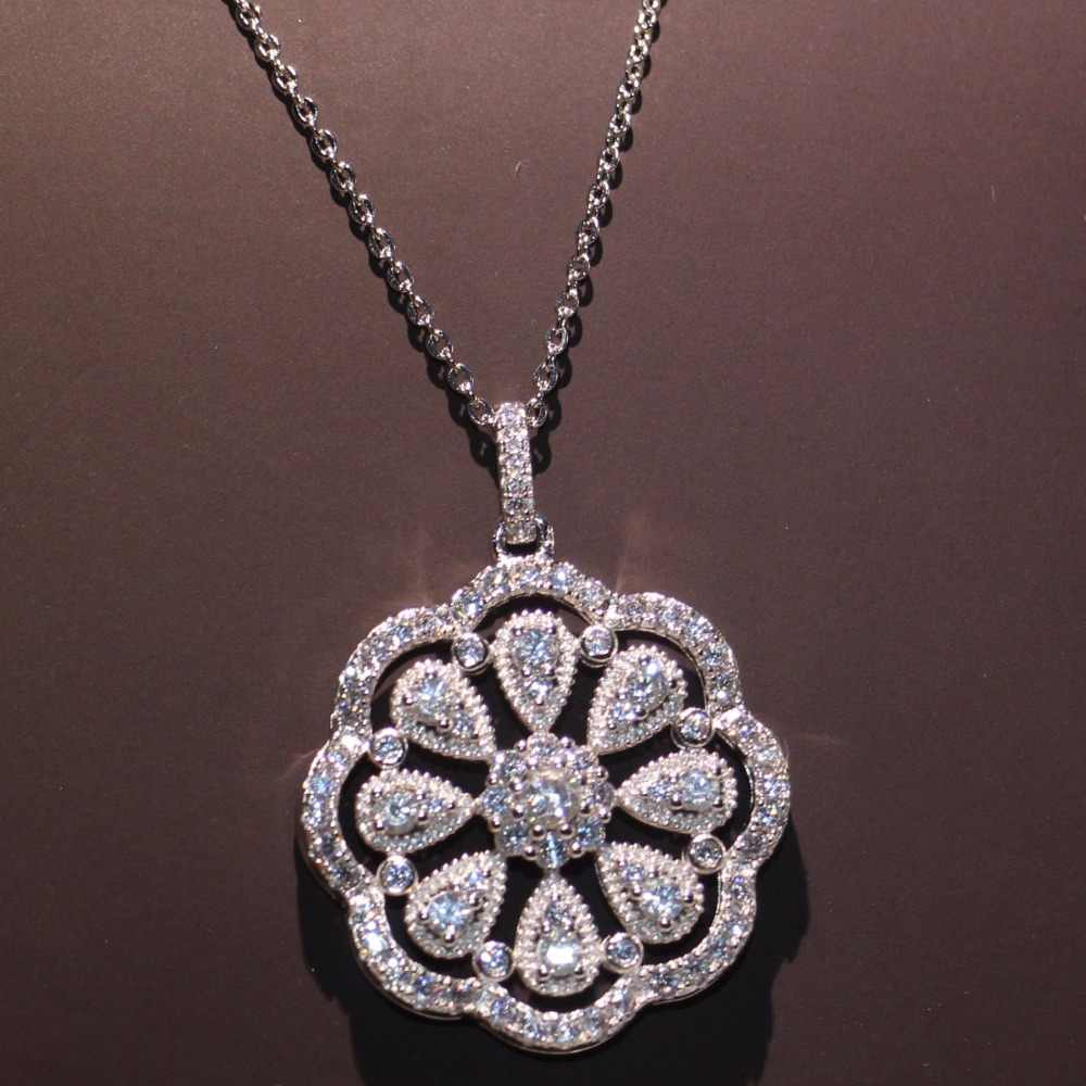 New Arrival Cool Flower Pendant  Luxury Jewelry 925 Silver Fill Full Pave AAA Cubic Zirconia Micro CZ Lucky Necklace for Women