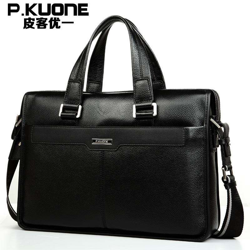 P.Kuone brand guaranteed 100% genuine leather men handbags famous men's bag business bag laptop briefcase men messenger bags padieoe men s genuine leather briefcase famous brand business cowhide leather men messenger bag casual handbags shoulder bags