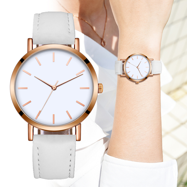 FUNIQUE Watch Women Couple Leather Strap Clock Wristband Fashion & Casual Analog