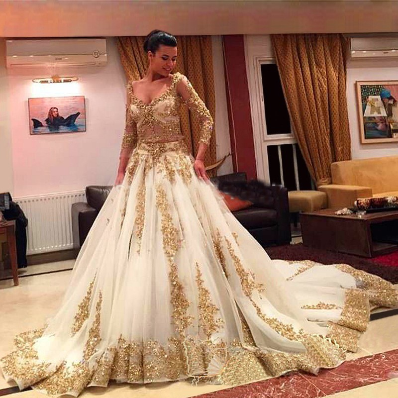 2020 Cinderella Two Pieces Wedding Dresses Arabic Ball Gown Gold Lace Beading 3/4 Sleeves Chapel Train Luxury Bridal Dresses