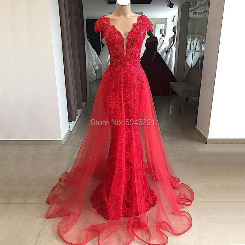 Red Turkey   Evening     Dresses   Mermaid Cap Sleeves Prom   Dresses   V Neck Kaftans Vestido De Festa Longo Party Gowns