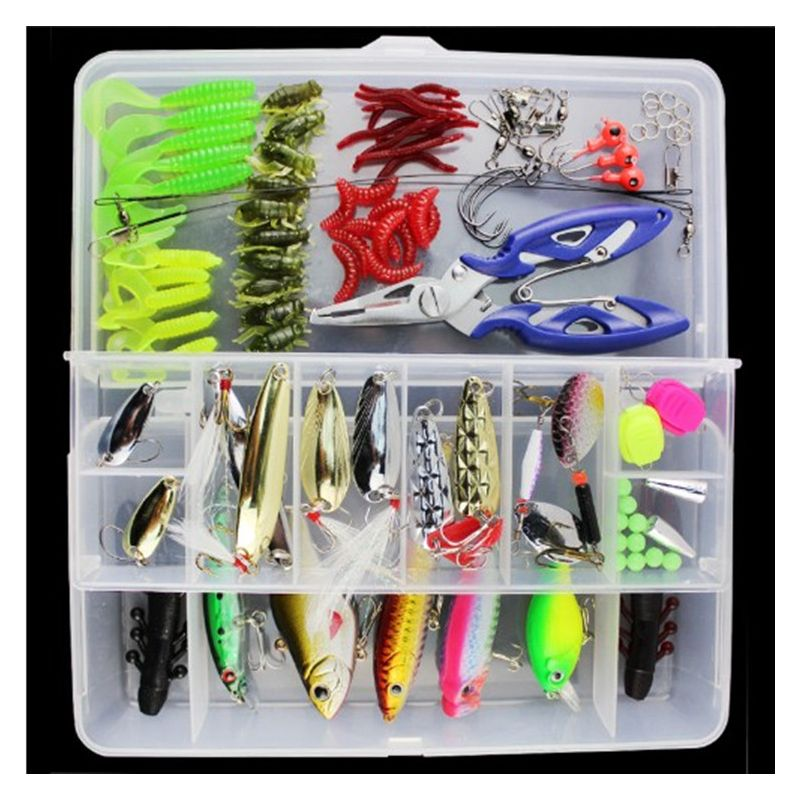 101pcs Fishing Lure Set With Box Hard Soft Bait Minnow Spoon Crank Shrimp Jig  Lure Fishing Tackle Accessory Fishing Lures Kits wldslure 4pcs lot 9 5g spoon minnow saltwater anti hitch crankbait hard plastic plainting fishing lures bait jig wobbler lure