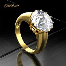 OneRain 100% 925 Sterling Silver Created Moissanite Gemstone Wedding Engagement Yellow Gold Ring Anniversary Jewelry Wholesale