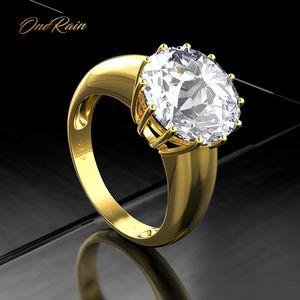 Image 1 - OneRain 100% 925 ayar gümüş düzenlendi mozanit taş düğün nişan sarı altın yüzük yıldönümü takı toptan